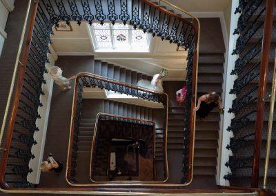 aerial-view-bride-descending-stairway