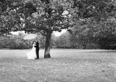 newlyweds-shelter-under-tree-rain