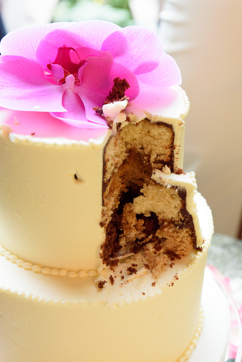 close up of a wedding cake after cutting