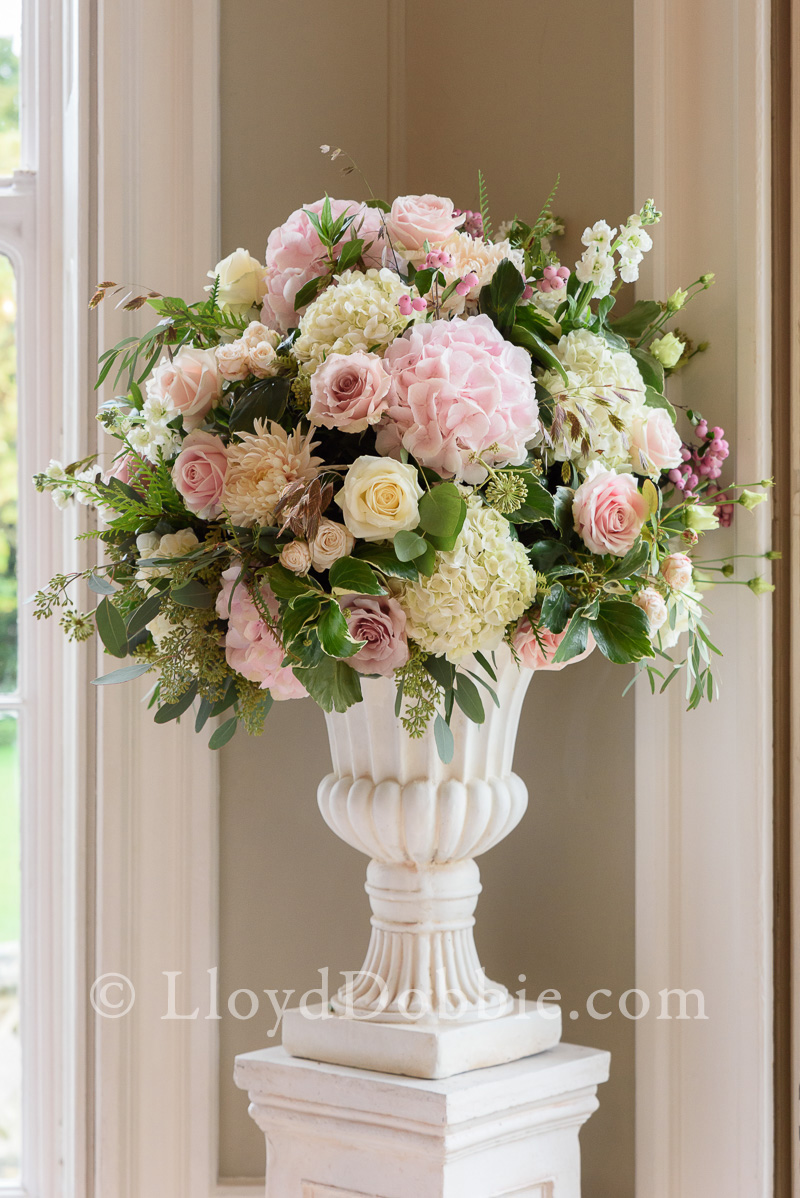 large display of flowers for a wedding at nonsuch mansion