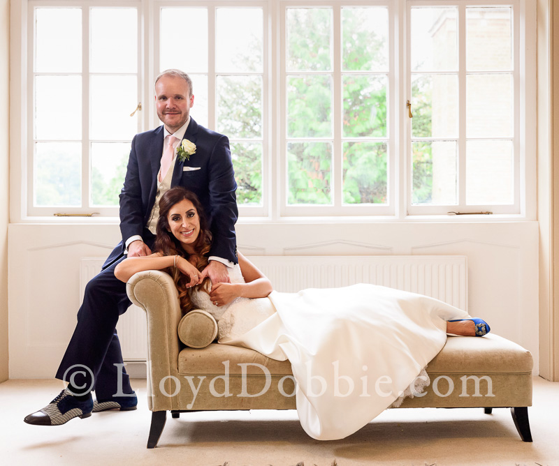 portrait of bride and groom in nonsuch mansion bridal suite