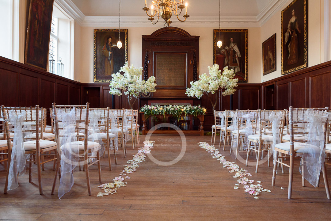 the great hall dressed for wedding at fulham palace