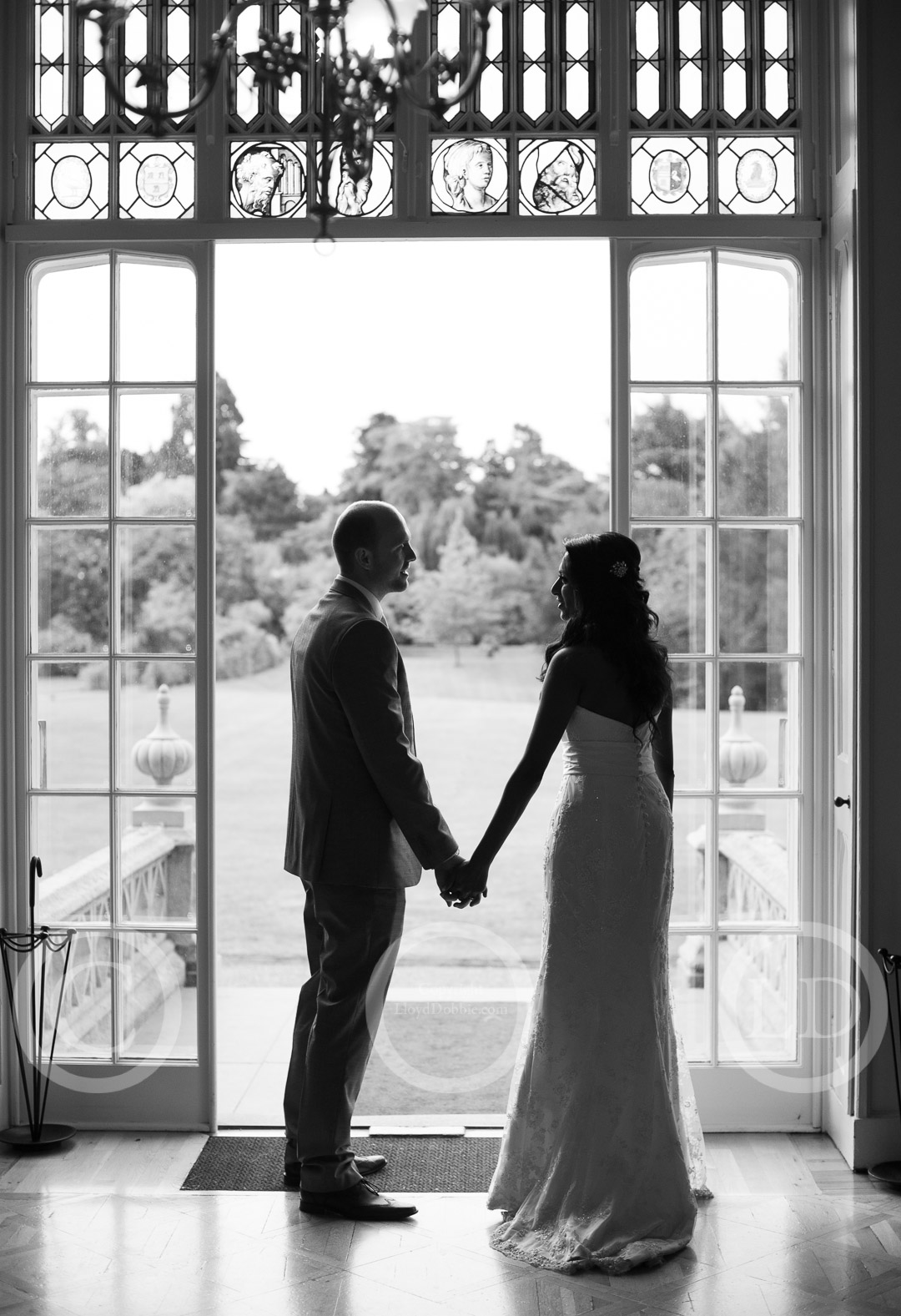 silhouette of newlyweds at nonsuch mansion