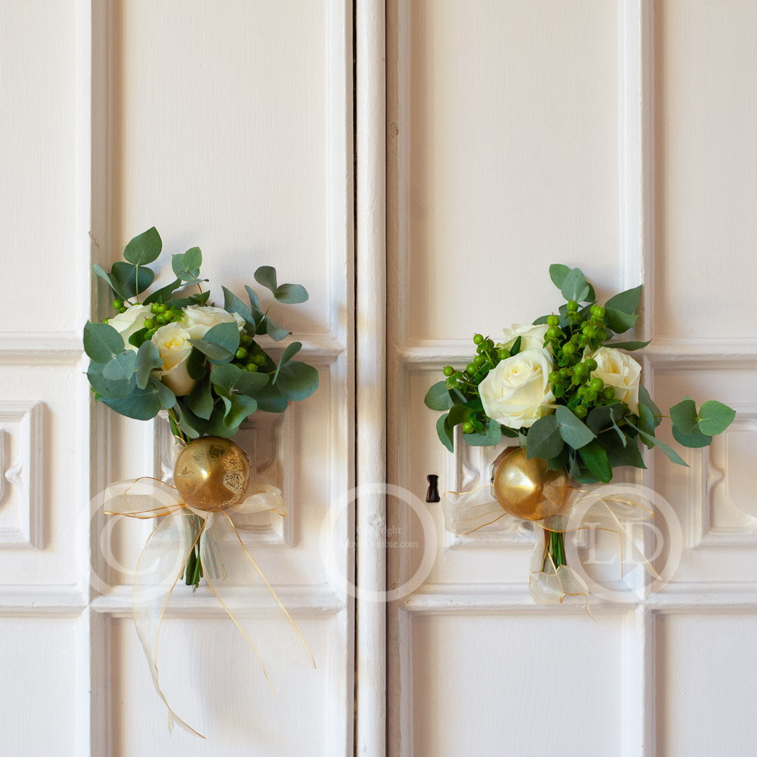 wedding flowers tied to door at nonsuch mansion