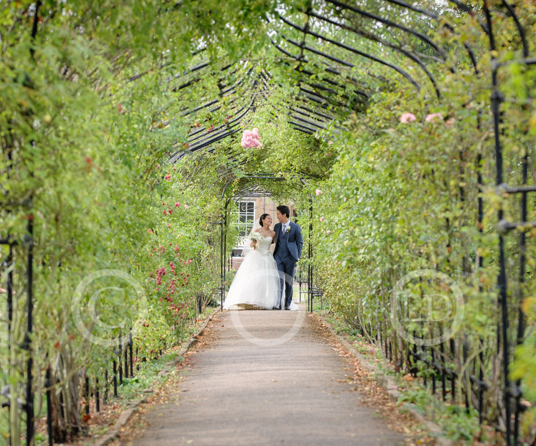 newlyweds walk through rose arbour at nonsuch mansion