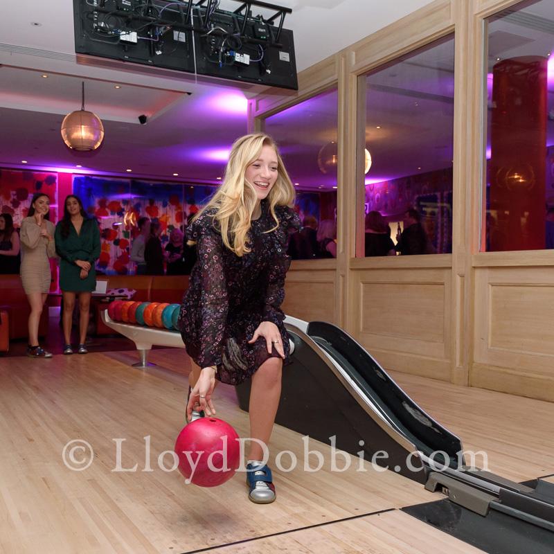 woman playing ten pin bowling at the Croc