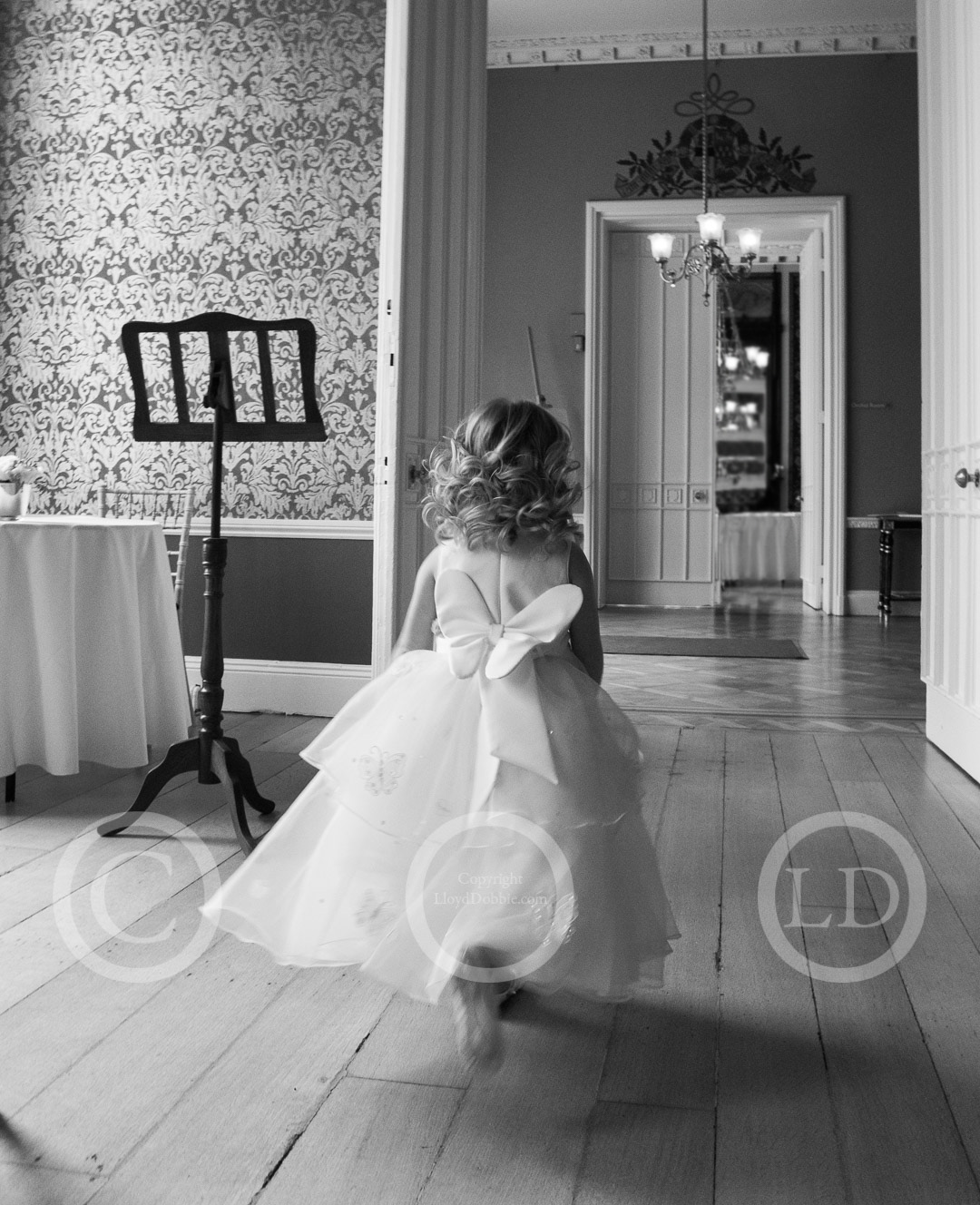 flower girl runs through room at nonsuch mansion